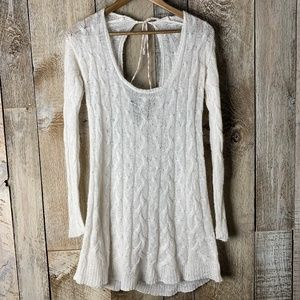 Free People Open Keyhole Back Cable Knit Sweater
